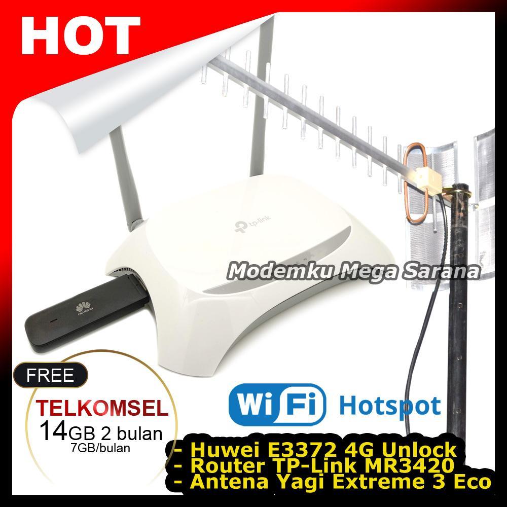 Paket Hotspot Tp-Link Tl-Mr3420 + Modem 4g Lte Huawei E3372 +antena Yagi Extreme 3 Eco By Modemku Mega Sarana.