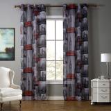 Harga 140X260 Cm Merah London Dicetak Eropa Style Tulle Kain Polyester Sheer Window Curtain Yang Murah Dan Bagus