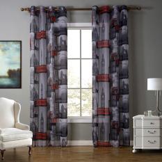 Diskon Besar140X260 Cm Merah London Dicetak Eropa Style Tulle Kain Polyester Sheer Window Curtain