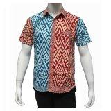 Jual Batik Solo Bo5010 Kemeja Batik Pria Trans Kombinasi Merah Biru Satu Set