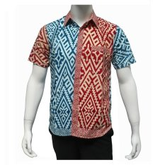 Beli Batik Solo Bo5010 Kemeja Batik Pria Trans Kombinasi Merah Biru Batik Solo Asli