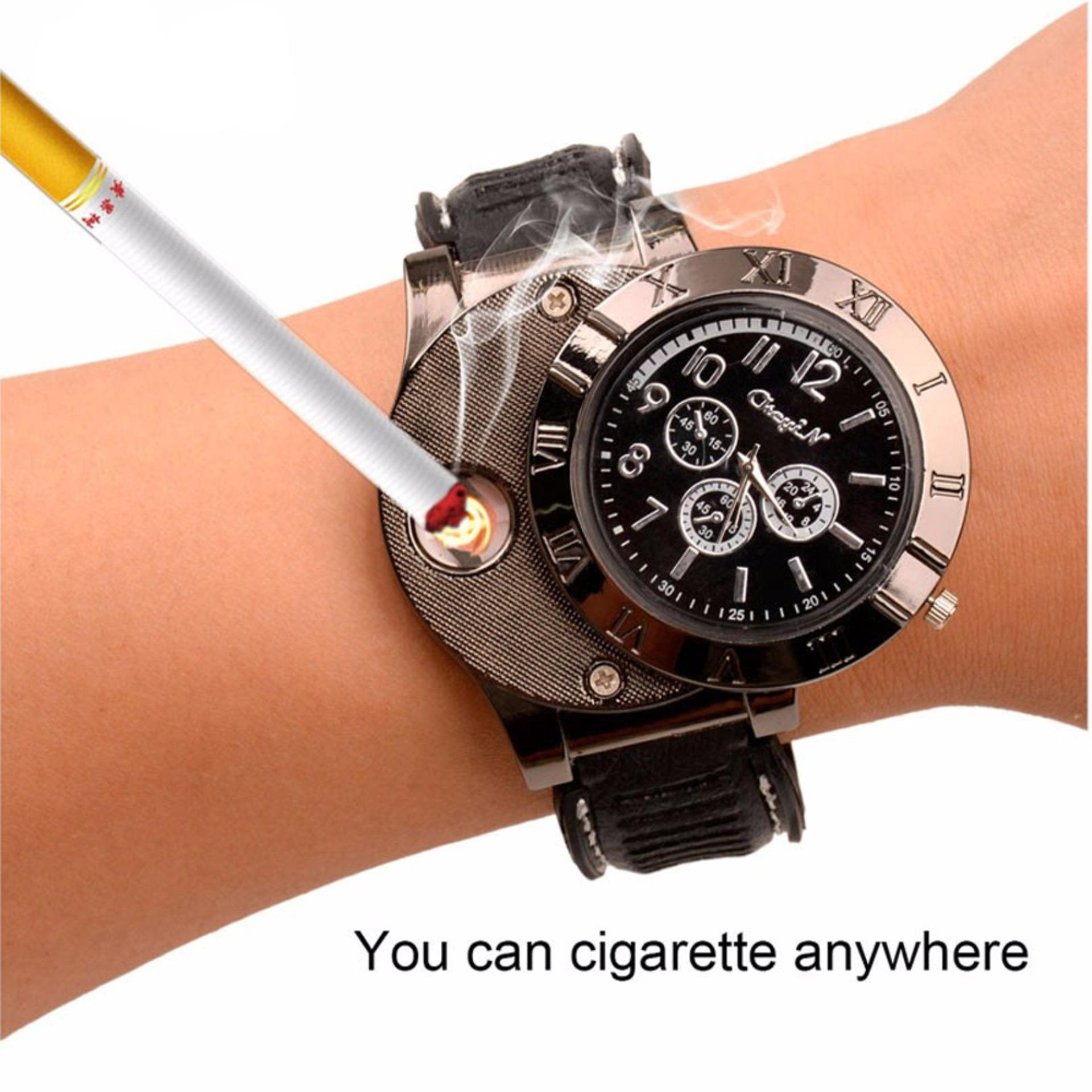Slalustok Store - Jam Tangan Pria Korek Elektrik Usb Api Rokok Cigarrete Lighter Watch Jam Tangan Analog By Slalustok Store.