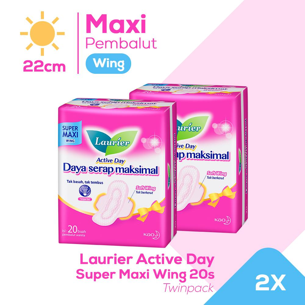 Laurier Active Day Super Maxi Wing 20S Twinpack