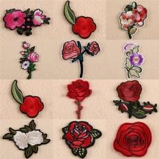 11 Pcs Bordir Bunga Mawar Di Patch On Badge Tas Jeans Applique Craft Multicolor 5 Cm-7 CM-Intl