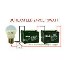 3W Bohlam Dc 24V Lampu Led Solar Cell Aki Panel Surya - A3996E