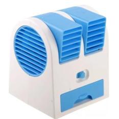 AC Duduk Portable Mini Double  Fan With USB - Biru
