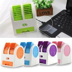 Ac Mini Portable - Neo Ac Duduk Double Mini Fan Portable Blower Kipas Usb-Ungu