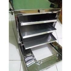 ALFATI_236 - Oven Stainless Steel / Oven Tangkring / Oven Kompor Terbaru - Bonus 3 Pcs Loyang - Silver