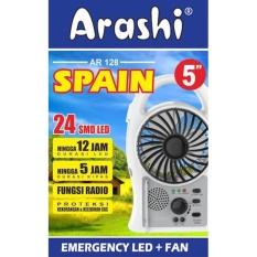 Arashi Kipas Angin 5in AR-128 Spain + Lampu Emergency LED 24 SMD + Radio Rechargeable