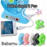 Jual Babamu Kipas Angin Mini Portable Paket 2 Pcs Bisa Untuk Power Bank Warna Random Baru