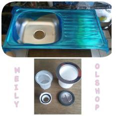 Bak Cuci Piring Stainless + Apur / Kran Cuci Piring/Kitchen Sink - Eece79