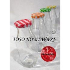 Botol Jar Kaca Juiice Glass Milk Bottle Botol Susu 300Ml Tutup Warna - 6D7D6E