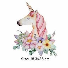 Kartun Unicorn Pakaian Stiker Gaun Sweater Bisa Dicuci Akord Perpindahan Panas Ukuran: L-Internasional