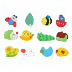 Easybuy 12 Buah/Set Anak Warna Kulkas Magnet Kayu Bayi Kartun Anak Mainan Pendidikan