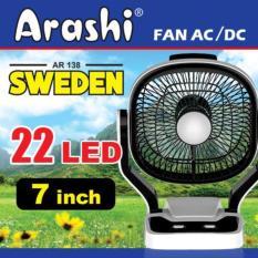 Gogo Grosir Arashi Kipas Angin 7in AR-138 Sweden + Lampu Emergency LED 22 SMD Rechargeable Input Multifungsi