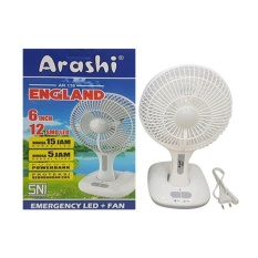 Gogo Grosir Arashi Kipas Angin + Lampu Emergency Rechargeable AR138 ( Baterai / AC / DC input Multifungsi )