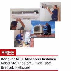 Jasa instalasi AC 2.5 PK+Bongkar+Pipa 5M+Kabel+Braket+Lem (Jadetabek)