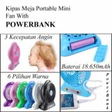 Review Kipas Angin Meja Rechargeable Portable Mini Fan Bisa Untuk Powerbank 18 650Mah Multi