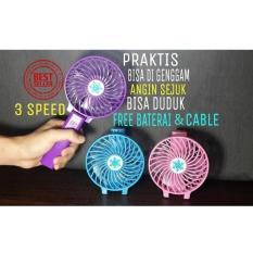 KIPAS ANGIN MINI USB HANDY MINI FAN With Lampu-Portable Rechargeable( tidak dapat pilih warna / random)