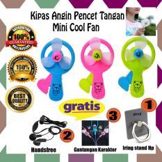 Paket Murah Buat Bepergian Anda!! Kipas Angin Pencet Tangan Manual Mini Cool Fan + Gratis Iring Stand Hp + Gantungan Karakter + Handsfree