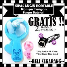 Kipas Angin Portable Pompa Tangan Tanpa Baterai - GRATIS Iring Stand HP & Kabel Charger Micro Android