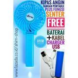 Tips Beli Kipas Angin Tangan Lipat Portable 4 5W Usb Fan Mini Stand Plus Fungsi Senter Free Kabel Charger Baterai Biru Muda Yang Bagus