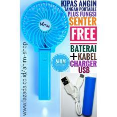 Jual Kipas Angin Tangan Lipat Portable 4 5W Usb Fan Mini Stand Plus Fungsi Senter Free Kabel Charger Baterai Biru Muda Jawa Timur Murah