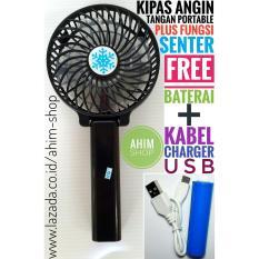 Kipas Angin Tangan Lipat Portable USB Fan Mini Stand PLUS Fungsi Senter FREE Kabel Charger USB + Baterai (HITAM)