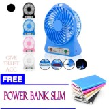 Kipas Angin Usb Mini Fan Portable Dengan Baterai Charger Free Power Bank Slim Murah