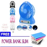 Spesifikasi Kipas Angin Usb Mini Fan Portable Dengan Baterai Charger Random Free Power Bank Slim Lengkap