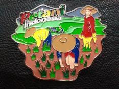 Magnet / tempelan kulkas petani souvenir negara Indonesia