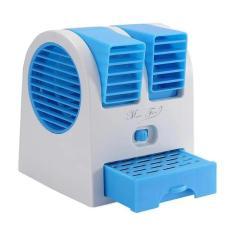 Mini AC Cooling 2 Blower Fan Kipas - Biru