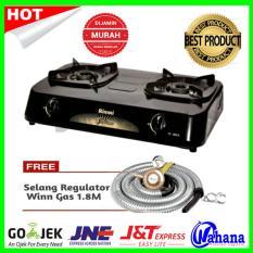 Paket Kompor Rinnai Ri 302S Kompor Gas 2 Tungku Selang Regulator Winn Original