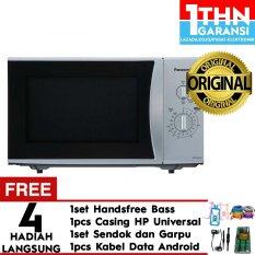 Panasonic NN-SM322MTTE - Microwave Oven 25 Liter - 450 Watt- Abu-abu Free Handsfree Headset Mega Bass + Garpu dan Sendok + Case Universal + Kabel data android