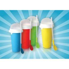 Peralatan Dapur Kecil Mini Murah Meriah / Squeezy Freezy Slushy Ice Maker Minuman Shake Milk Susu Es Gelas Sendok Bahan Silikon Bentuk Unik