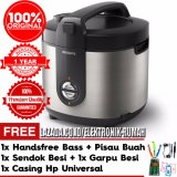 Beli Philips Viva Collection Magic Jar Rice Cooker Hd3128 33 Premium Hitam Silver Gratis Pisau Buah Handsfree Bass Casing Hp Universal 1Set Sendok Besi Dan Garpu Besi