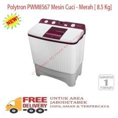 Polytron PWM8567 Mesin Cuci - Merah [ 8.5 Kg]-KHUSUS JABODETABEK