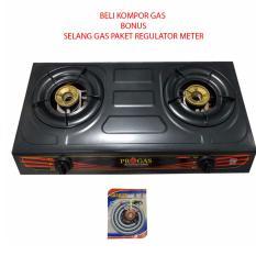 Progas PG169C Kompor Gas 2 Tungku Bonus Selang Gas Paket Regulator Meter