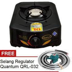 Quantum Kompor Kompor Gas 1 Tungku QGC 101R - Hitam + Free Quantum Selang Regulator QRL-032