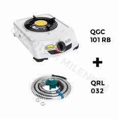 Quantum Kompor Kompor Gas 1 Tungku QGC 101RB - Putih + Free Quantum Selang Regulator QRL-032