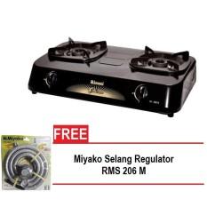 Rinnai kompor gas 2 tungku RI-302S + Miyako selang Regulator RMS-206M