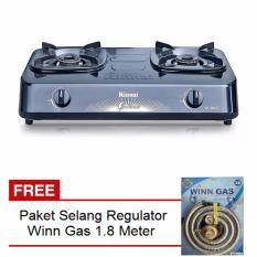 Rinnai RI-302S Kompor Gas 2 Tungku + Free Selang Regulator Gas