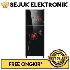 Sanken SK-G220-BKG Glass Tray Kulkas 2 Pintu 215 Liter - Hitam (KHUSUS JADETABEK)