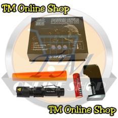 Senter Police Swat Mini Led Zoom Q5 Power Style C-80 78000 Watt + Baterai Recharge Ultrafire 18650 +