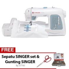 Singer XL-400 + Gratis Sepatu Singer Set + Gunting Singer Mesin Jahit Bordir Portable Komputer