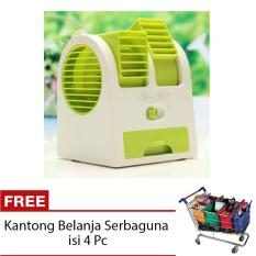 StarHome AC Duduk Mini Portable - Double Blower Mini AC - Kipas Angin Hijau + Free Kantong Belanja Serbaguna isi 4 Pc