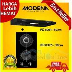 TERBARU PAKET Kompor Tanam Modena BH 0325 - 2 Tungku + Cooker Hood PX 6001 Harga Pabrik