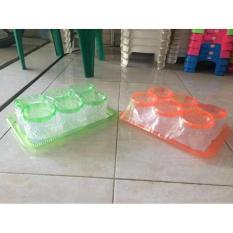 Toples Plastik Kaca/ Mika + Nampan Set - Daced9