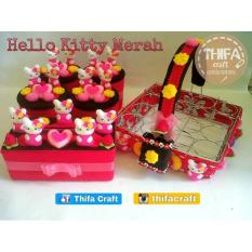 Toples Set + Keranjang Air Mineral / Aqua 16 Hias Flanel - Hello Kitty - 7Ae33b