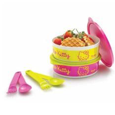 Tupperware Hello Kitty Meal Time - Meal Box Dengan Motif Hello Kitty - Warna Pink Dan Lime